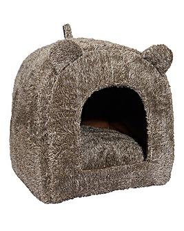 Brown Teddy Bear Cat Bed