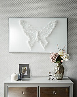 White Cluster Butterfly on Mirror