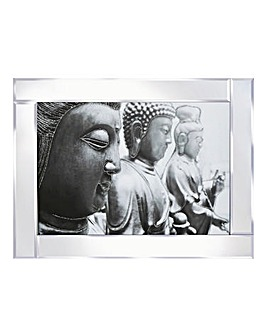 Three Buddha Glitter on Mirrored Frame