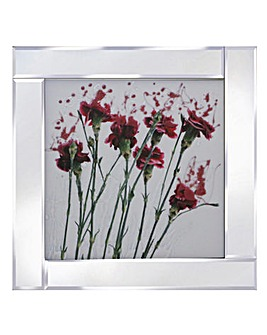 Pink Carnations on Mirrored Frame