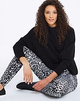 Mono Leopard Print Leggings Regular