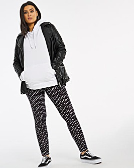 Mono Heart Print Leggings Regular