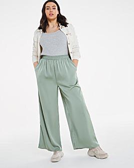 Green Shirred Waist Satin Wide Leg Trousers