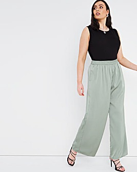 Green Shirred Waist Satin Wide Leg Trousers