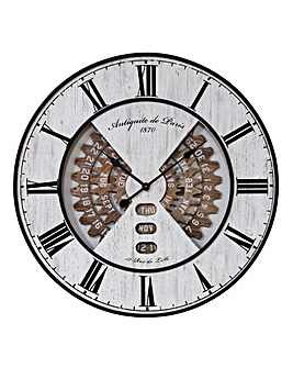 Hometime Wooden Wall Clock Date and Cogs