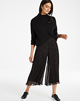 Print Wide Leg Pleated Culottes