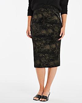 Glitter Velour Midi Pencil Skirt