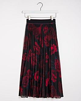 Floral Print Pleated Midi Skirt