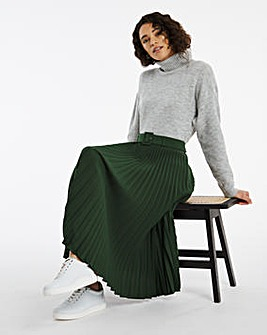 Belted Pleat Midi Skirt