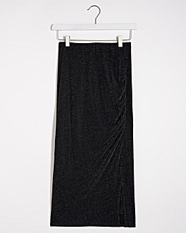 Glitter Knit Ruched Side Midi Skirt