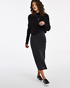 Glitter Knit Ruched Side Midi Skirt