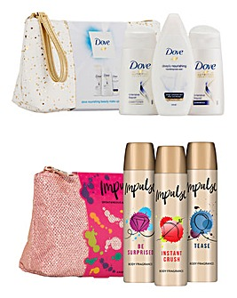 Impulse & Dove Beauty Wash Bag Gift Set