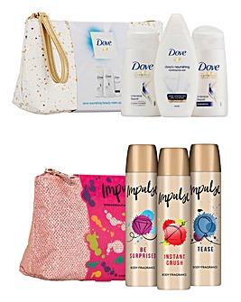 Impulse & Dove Beauty Wash Bag Gift Set