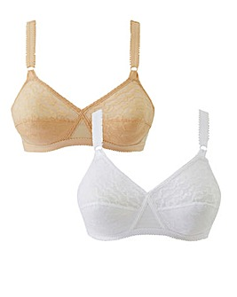 Playtex 2Pk Lace Non Wired Bras Nud/Wht