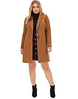 Petite Camel Single Breasted Coat