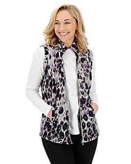 Leopard Print Contrast Zip Fleece Gilet