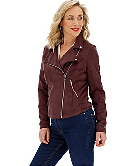 Aubergine Suedette Biker Jacket