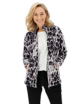 Leopard Print Contrast Zip Fleece Jacket