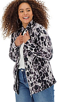Grey Leopard Print Fleece Jacket
