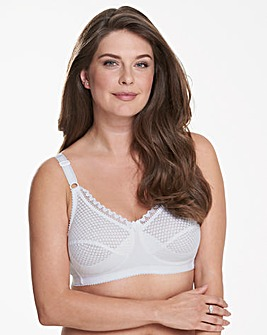 Miss Mary Cotton Dots Non Wired White Bra