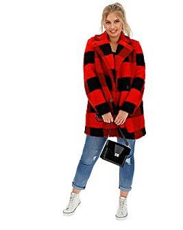 Red/Black Check Print Teddy Fur Coat