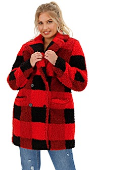 Red & Black Check Print Teddy Fur Coat
