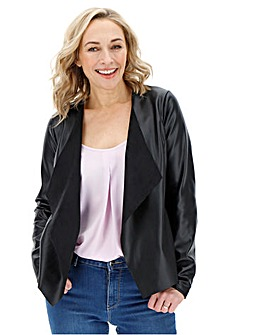 Black Waterfall PU Jacket with Stretch Jersey Panelled Sleeves