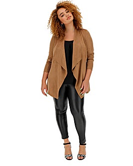 Tan Longline Suedette Waterfall Jacket