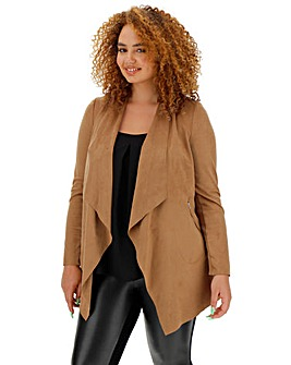 Tan Suedette Waterfall Jacket with Stretch Jersey Panelled Sleeves