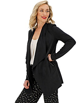 Black Suedette Waterfall Jacket with Stretch Jersey Panelled Sleeves