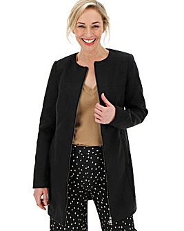 Black Collarless Zip Front Coat