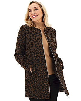 Animal Print Collarless Zip Front Coat