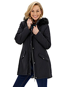 Black Faux Fur Trim Lightweight Parka