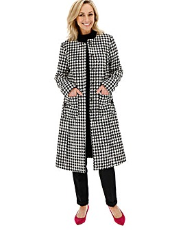 Longline Dogtooth Collarless Belted Coat