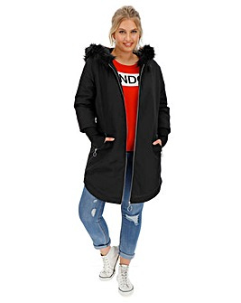 Black Faux Fur Lined Sporty Parka