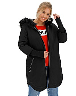 Black Faux Fur Lined Parka with Rib Cuff