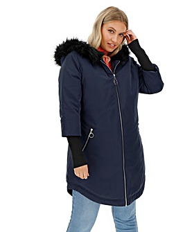 Navy Faux Fur Lined Parka with Rib Cuff
