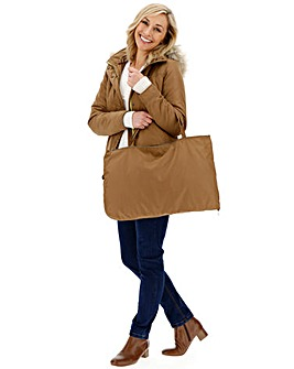 Camel Lightweight Parka With Detatchable Fur Hood