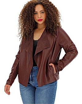 Wine Waterfall PU Jacket with Stretch Jersey Panelled Sleeves