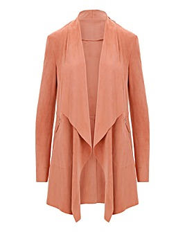 Blush Longline Suedette Waterfall Jacket