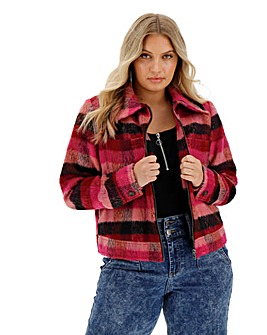 Pink Check Wool Trucker Coat