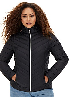 Lightweight Padded Shower Resistant Pack-away Jacket with Concealed Hood