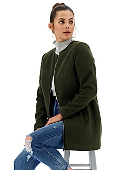 Forest Green Collarless Zip Front Coat