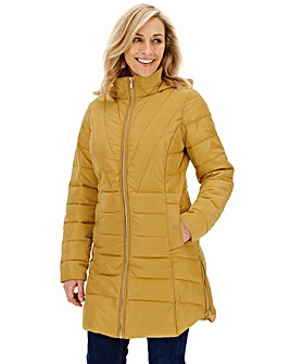 Lime Hooded Longline Padded Coat