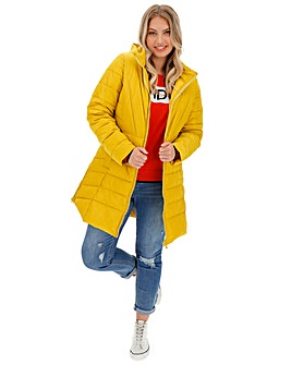 Chartreuse Hooded Longline Padded Coat