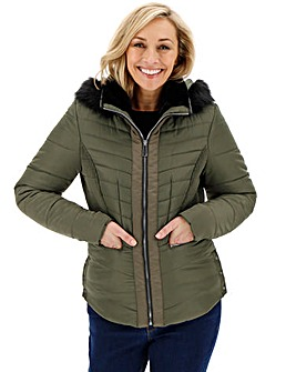 Khaki Hooded Faux Fur Collar Padded Coat