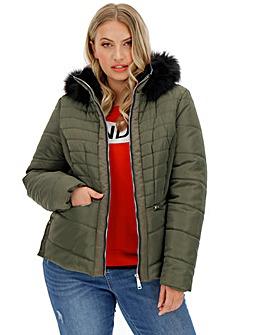 Khaki Hooded Faux Fur Collar Padded Coat