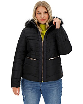 Black Hooded Faux Fur Collar Padded Coat