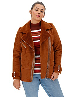 Rust Faux Fur Lined Suedette Aviator