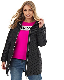 Black Hooded Lightweight Padded Jacket